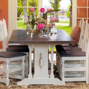 Gjende spisestue hvit 14 med gårdsgrå plate og 6 Gjende spisestoler
